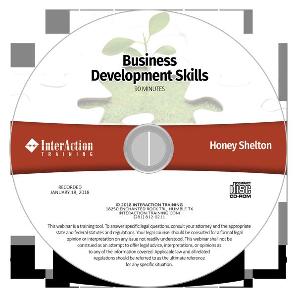 Business Development Skills webinar on CD-ROM with Honey Shelton