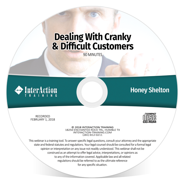 Dealing with Cranky & Difficult Customers CD-ROM training with Honey Shelton